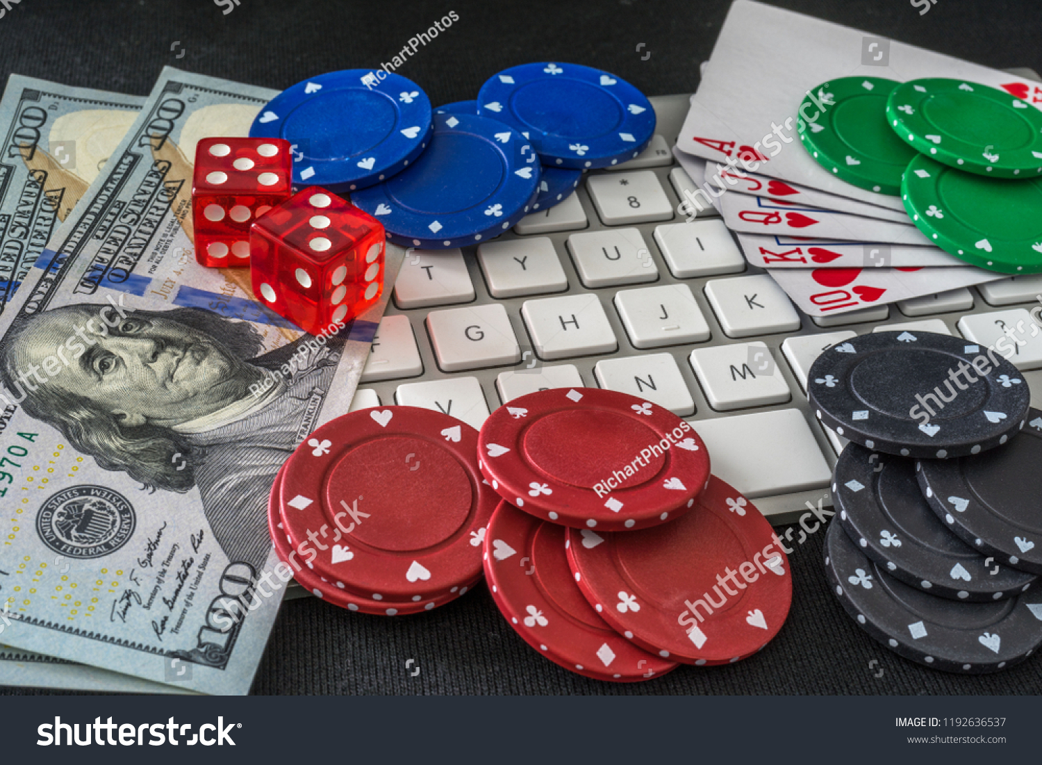 Computer Keyboard Surrounded By Casino Items Stock Photo Edit Now 1192636537