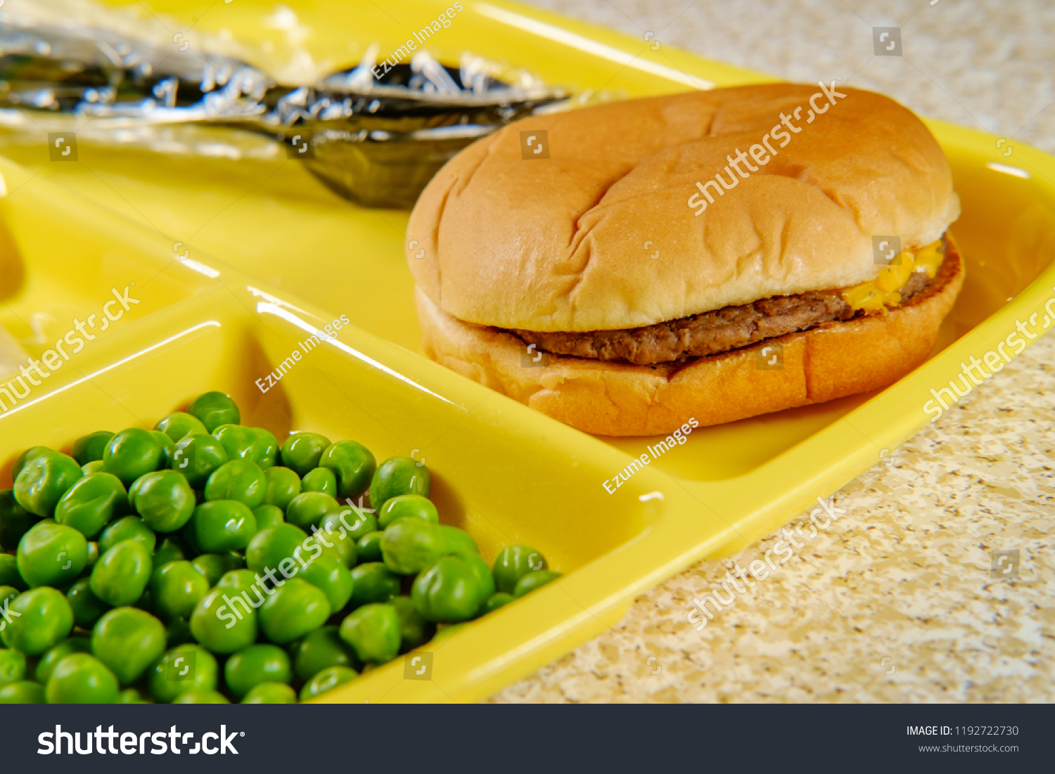 Elementary School Lunch Cheeseburger Mashed Potatoes Stock