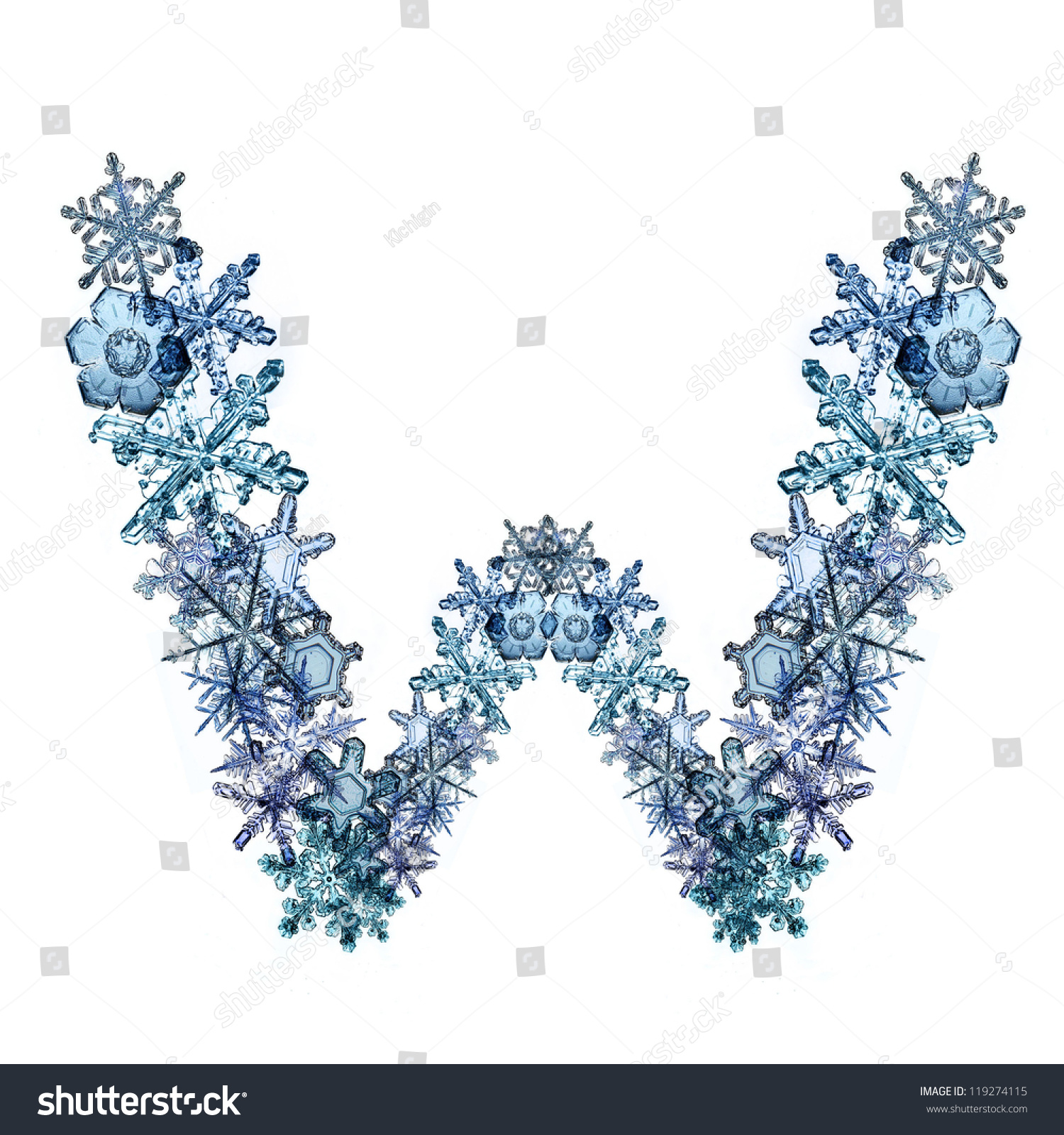 font this winter snowflakes ice letter stock photo 119274115