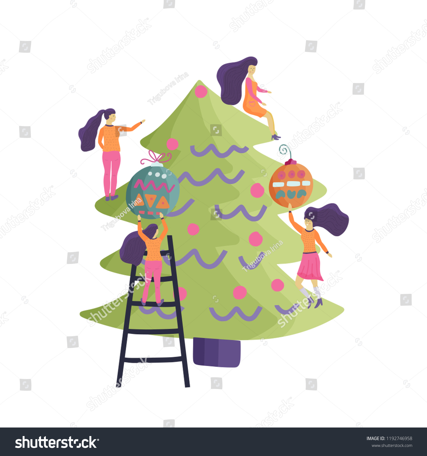 Small Girl Characters Decorate Christmas Tree Stock Vector Royalty