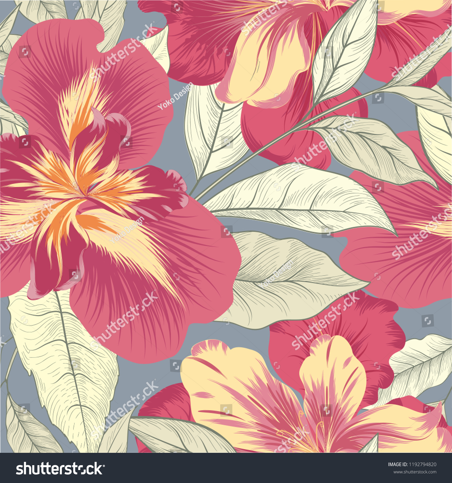 Floral Seamless Pattern Flower Iris Background Nature