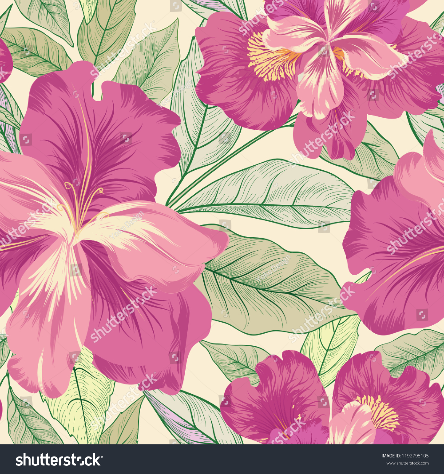 Floral Seamless Pattern Flower Iris Background Stock Vector
