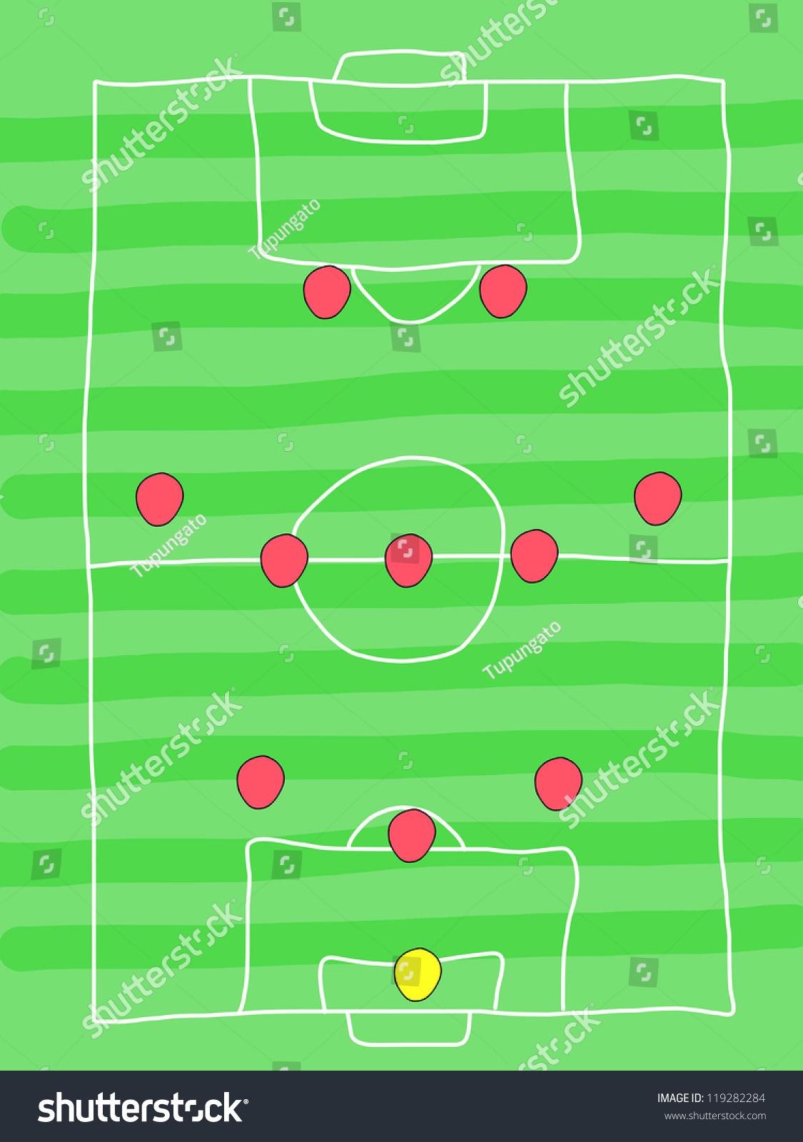 Soccer Field Doodle Drawing Football Tactics Stock Illustration