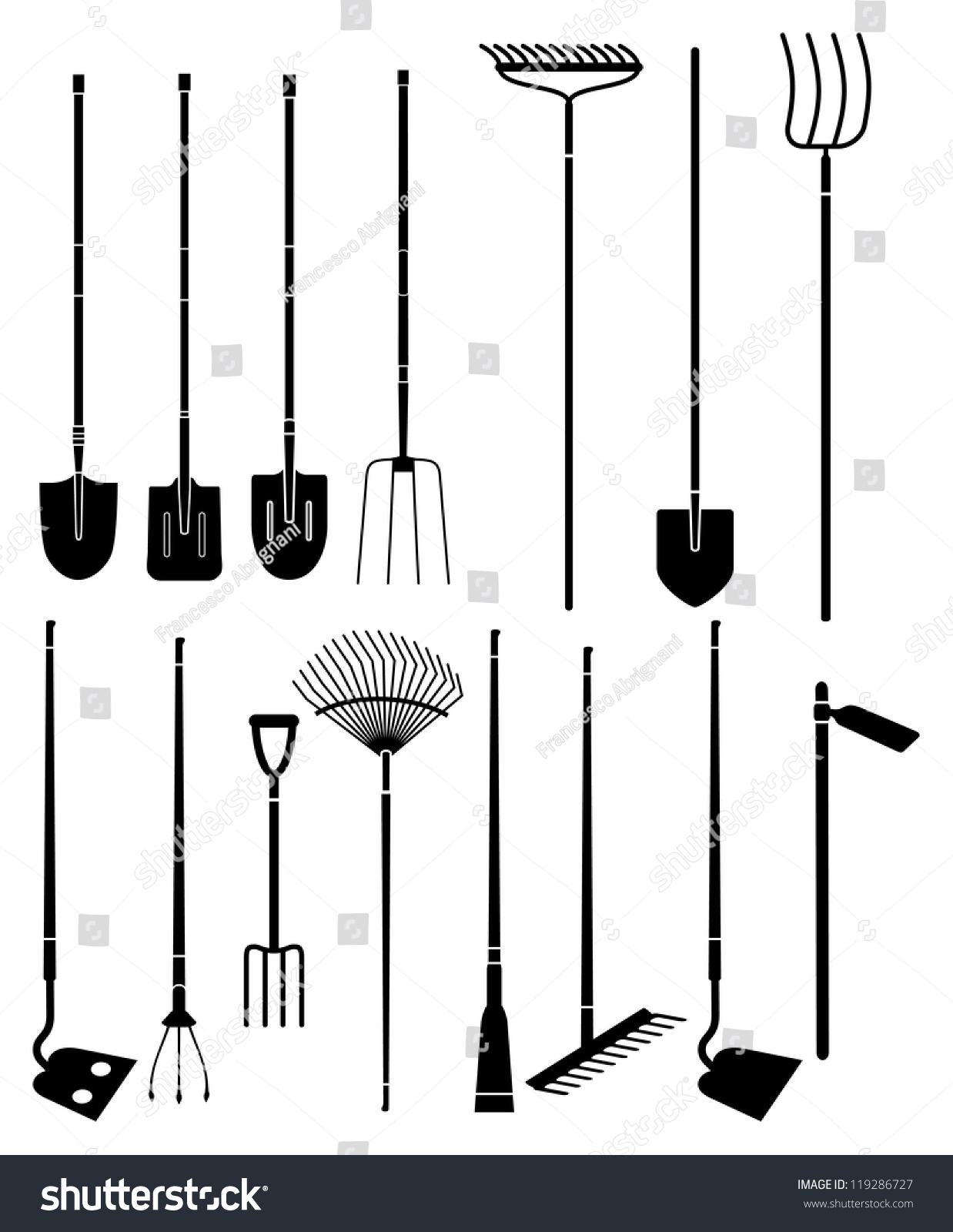 Silhouette set of long handled gardening tools stock for Gardening tools drawing with names