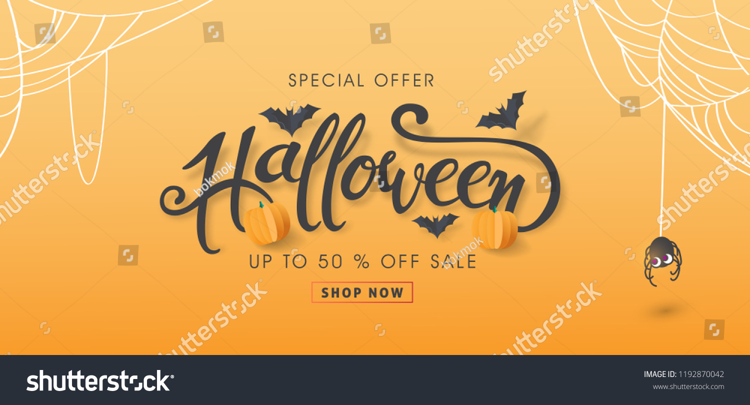 "Happy Halloween sale banners or party invitation background.Vector illustration .calligraphy of ""halloween"" #1192870042"