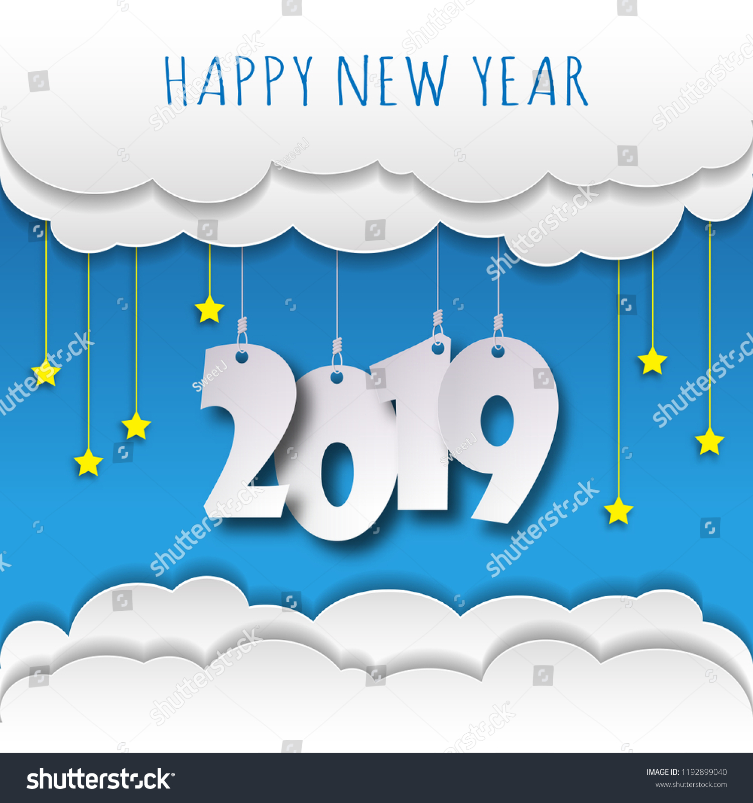 happy new 2019 year greetings card colorful design vector illustration