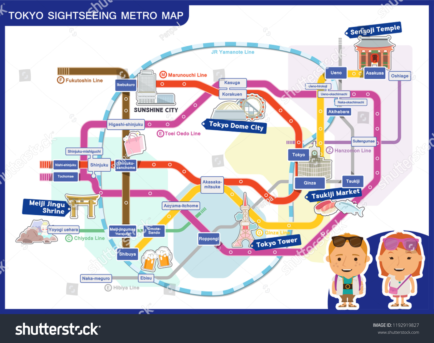 Aoyama Itchome On Subway Map.Tokyo Metro Sightseeing Map Travel Vector Stock Vector Royalty Free