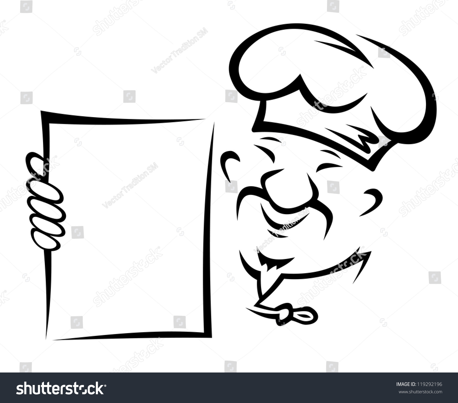 Chinese Chef With Blank Menu Paper For Asian Restaurant Design Such A Logo Template