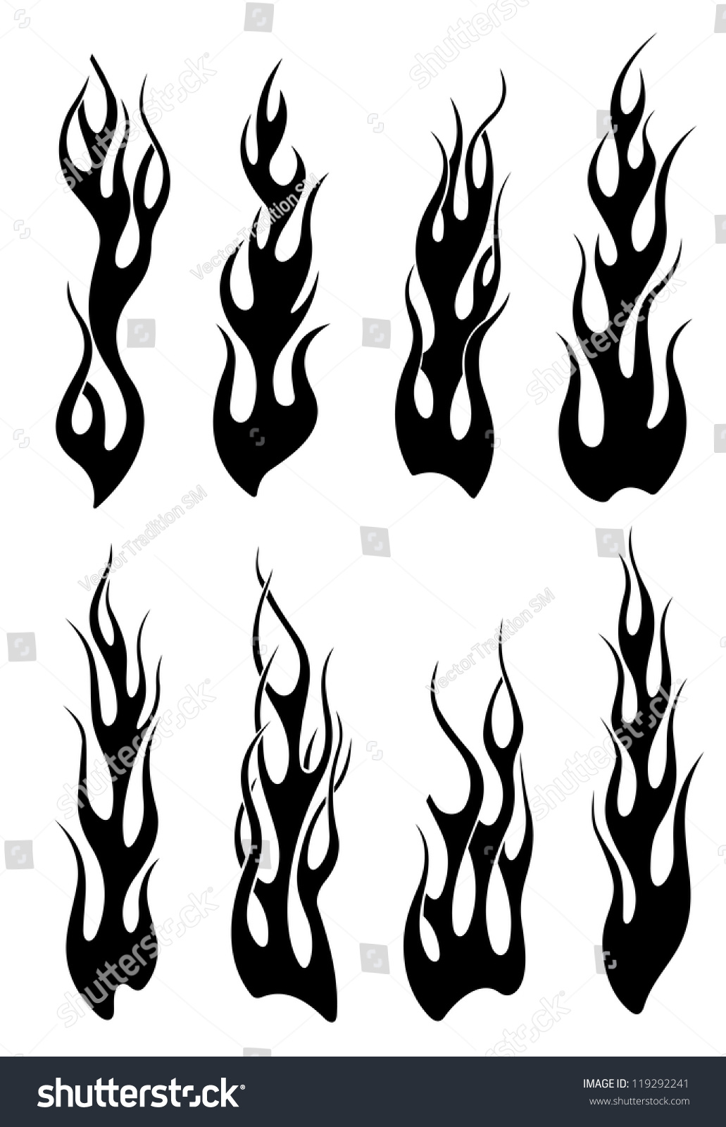Set black tribal flames tattoo another stock vector for Tribal flames tattoo