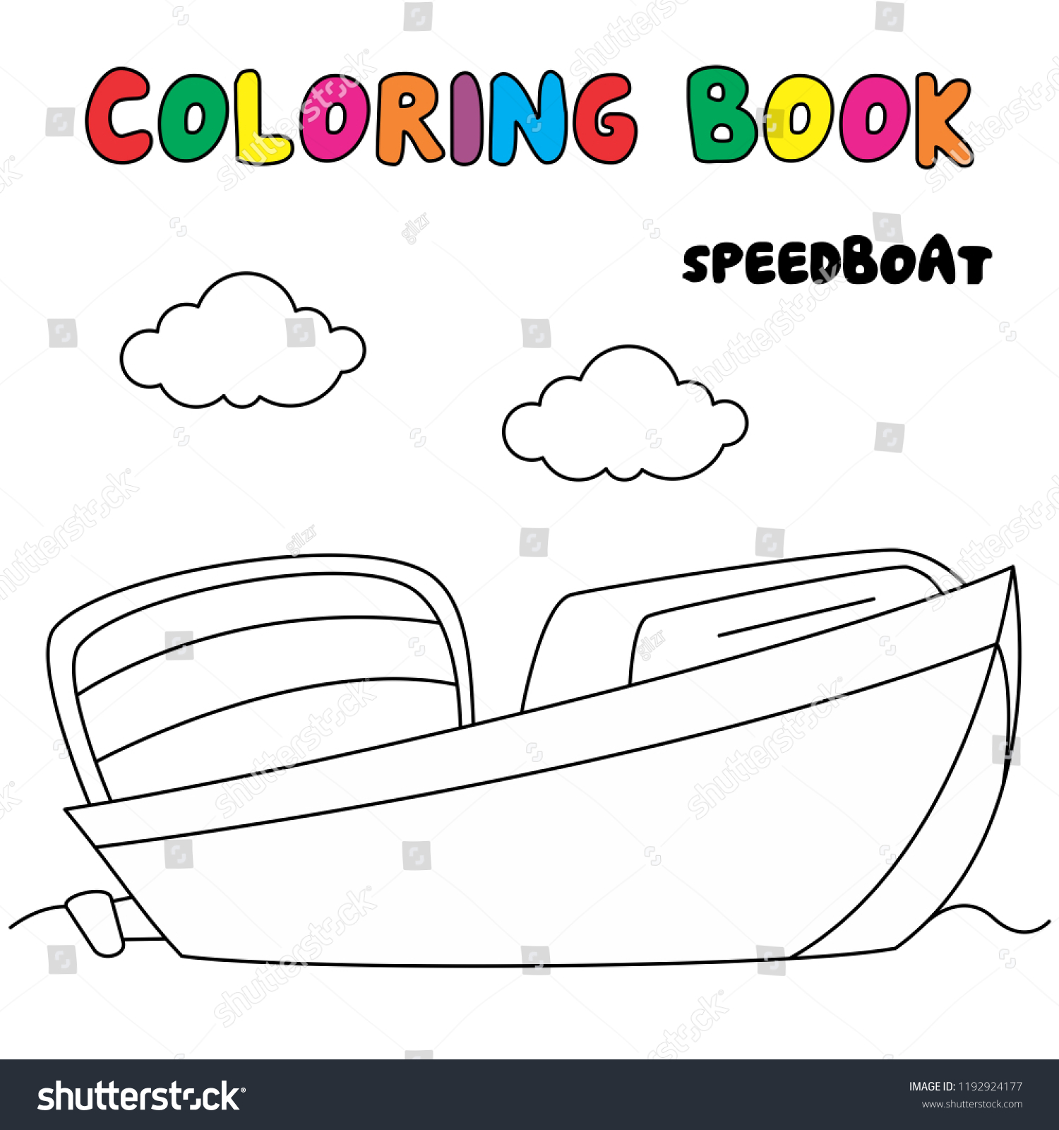 Speedboat Coloring Page Transportation Coloring Book Stock Vector