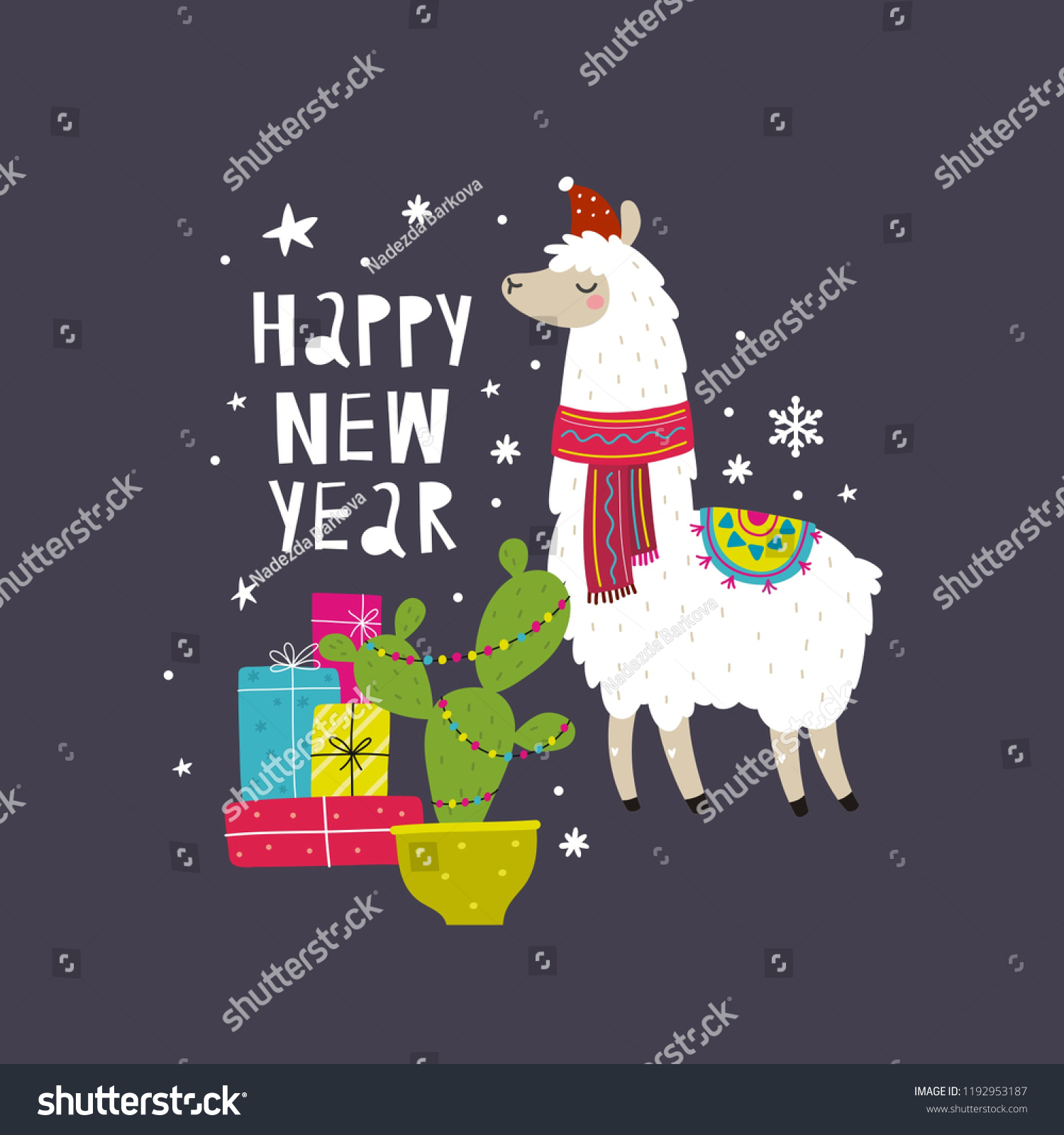 cute merry christmas and happy new year print with alpaca cartoon character alpaca