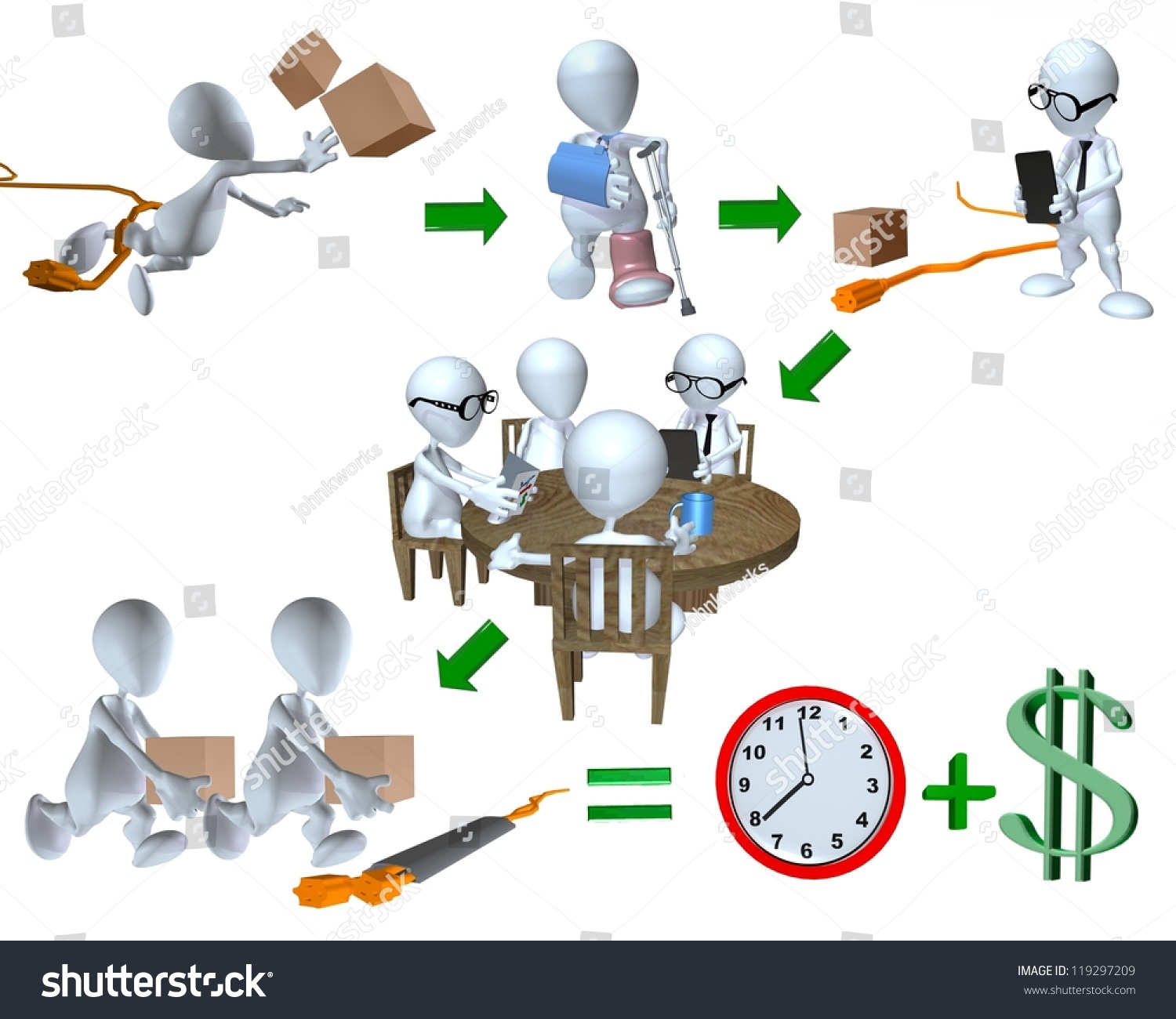 d man risk management accident example stock illustration 3d man risk management accident example for the workplace