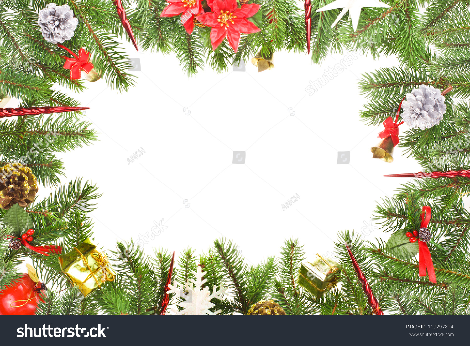 Christmas Motifs Branches Christmas Tree Ornaments Stock Photo (Edit ...