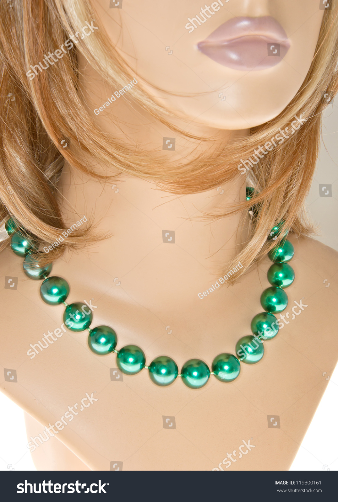 store showcas of necklace ay jewelry counter stock photo