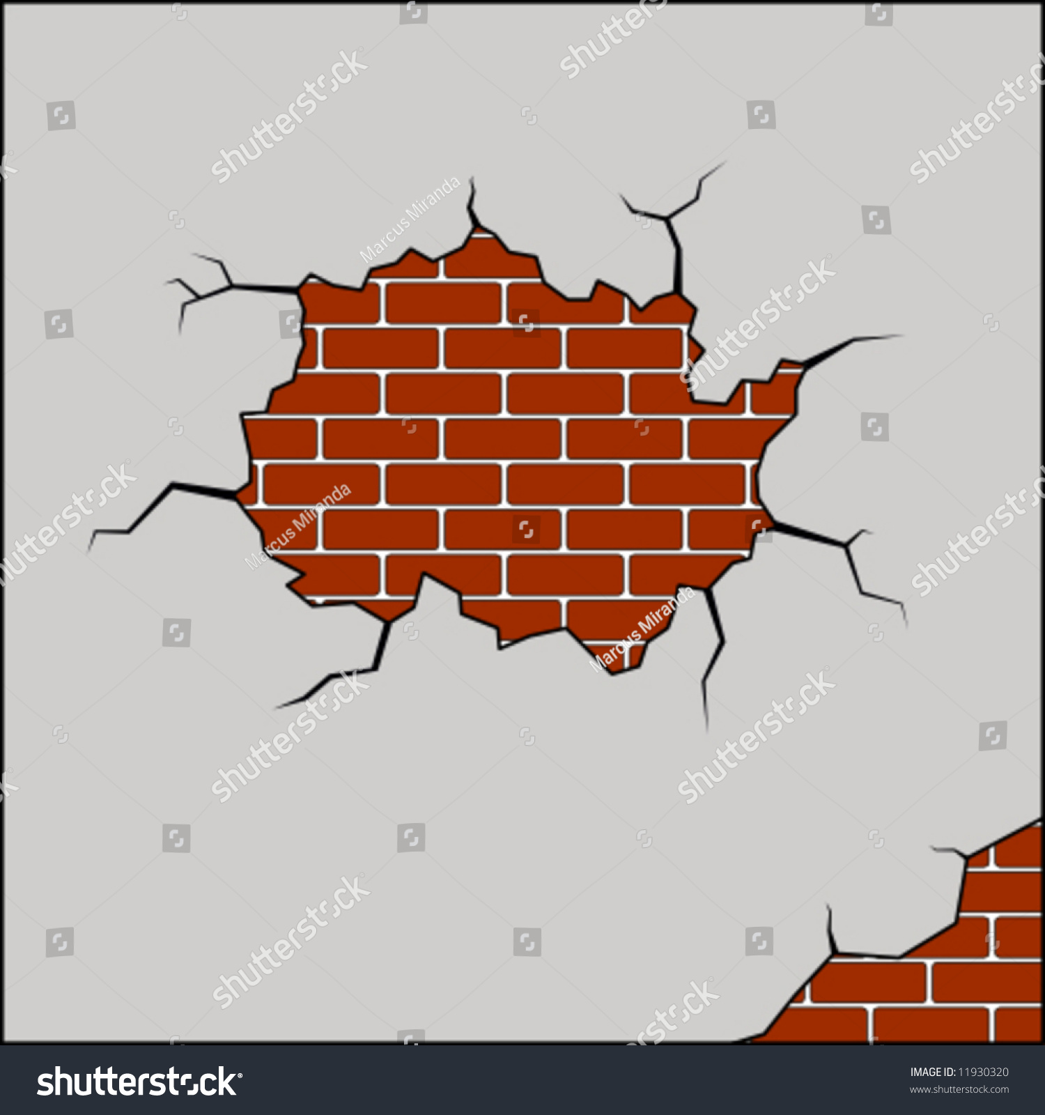 Cracked brick wall drawing brick wall - Vector Illustration Of A Broken Brick Wall
