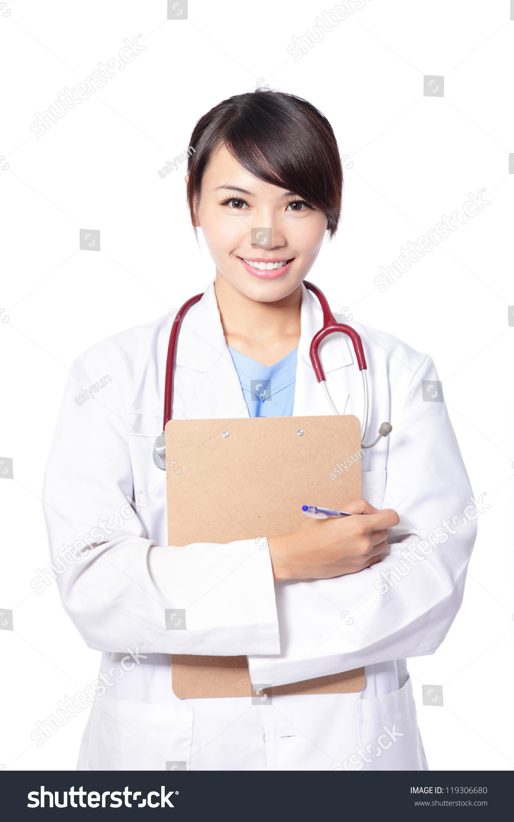Asian doctor and girl