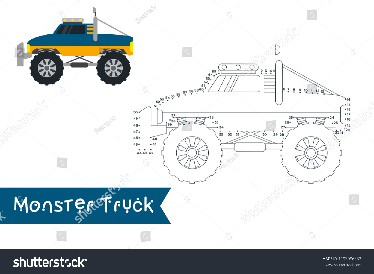 Monster Truck Kids Style Connect Dots Stock Vector Royalty Free 1193086333