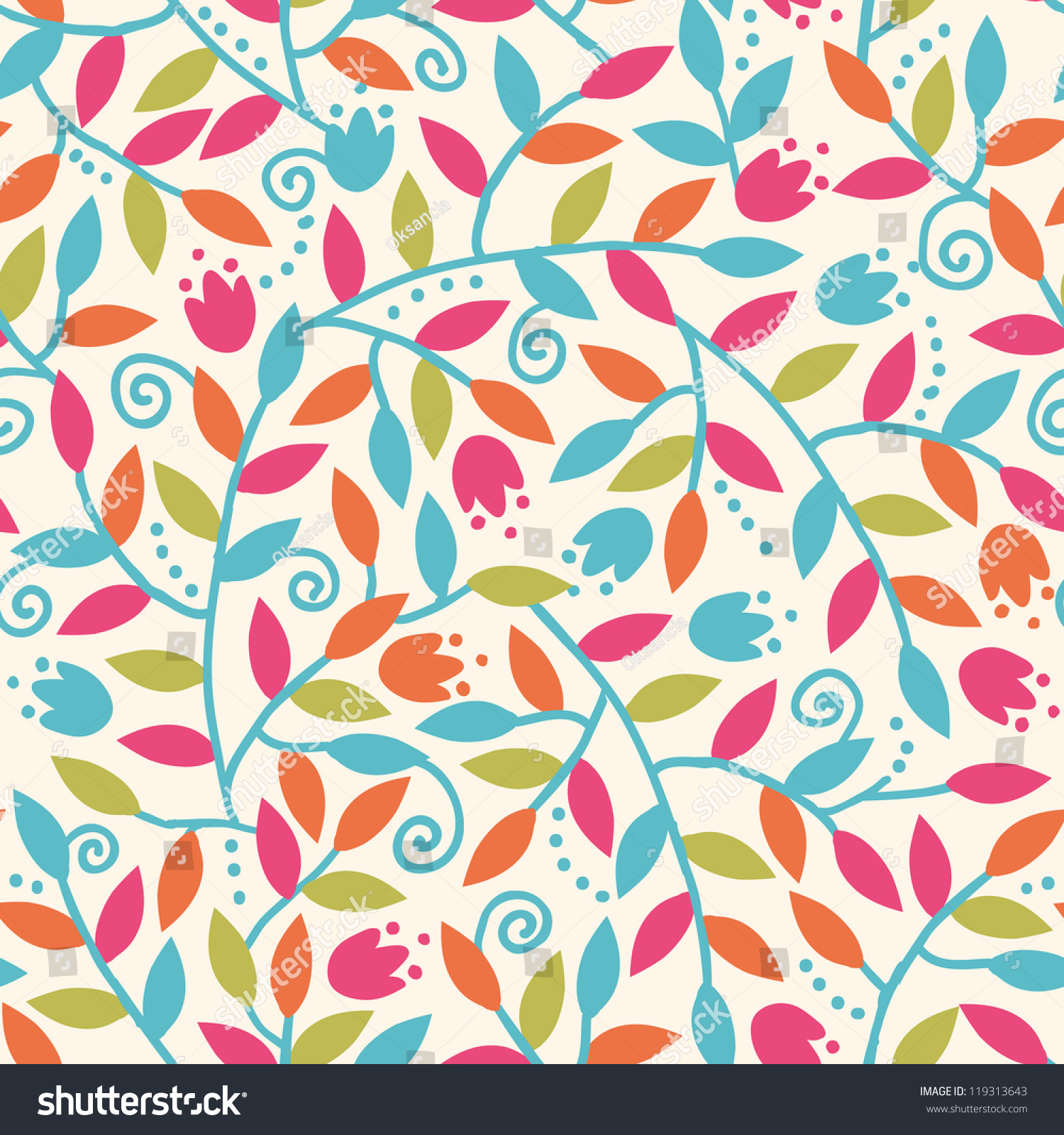 Vector colorful branches seamless pattern background stock for Fun pattern wallpaper