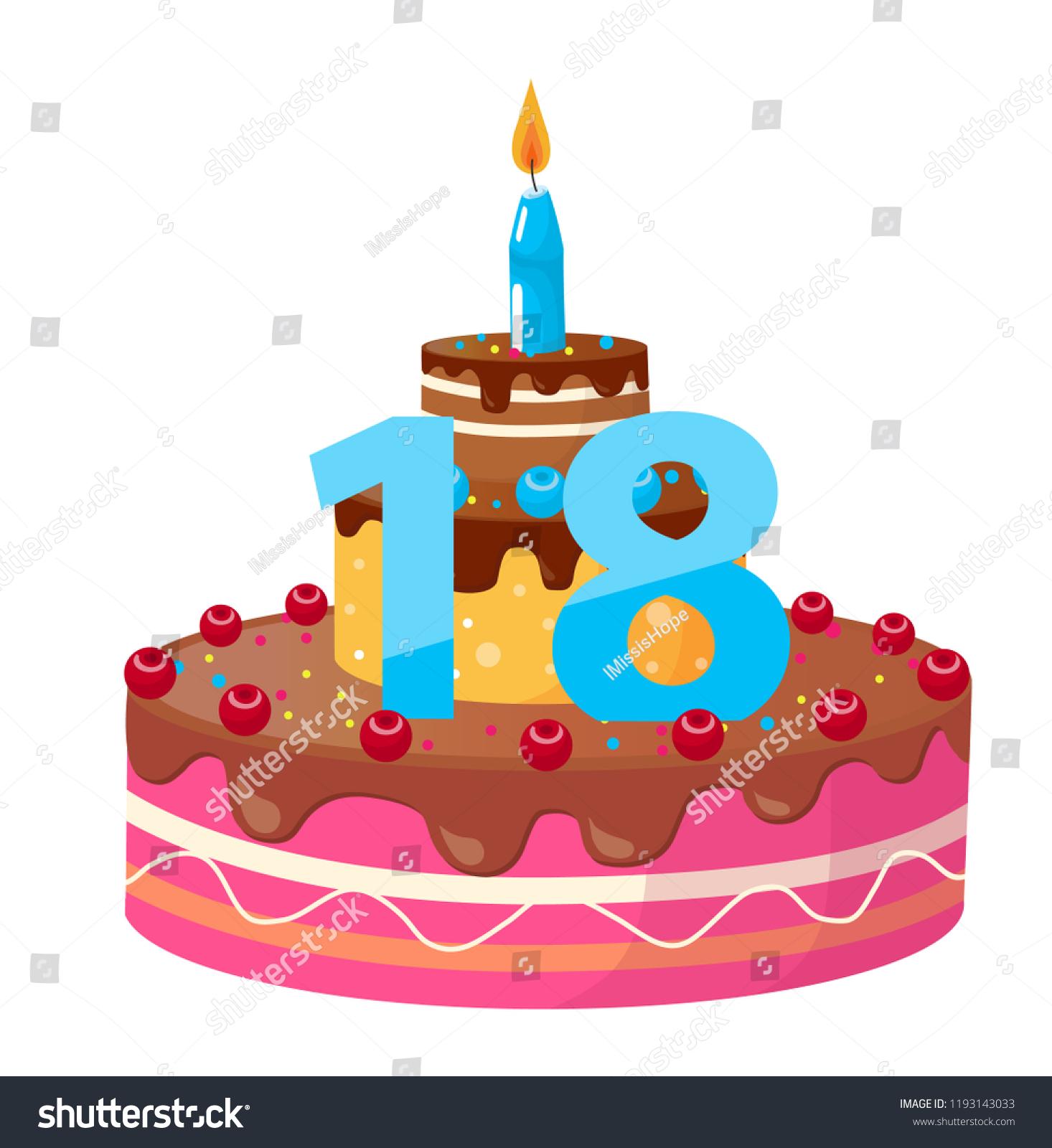 Birthday Cake 18 Years Vector Stock Vector Royalty Free 1193143033