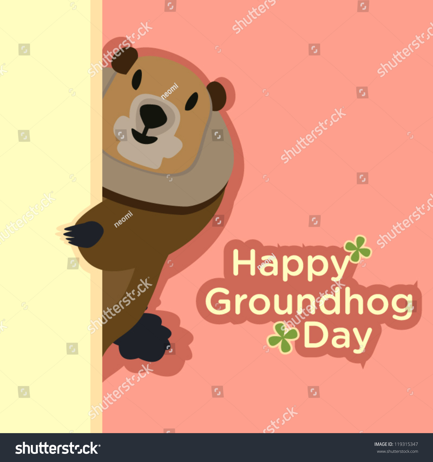 Shy groundhog hides behind yellow wall stock vector 119315347 a shy groundhog hides behind the yellow wall to send a greeting for groundhog day kristyandbryce Gallery