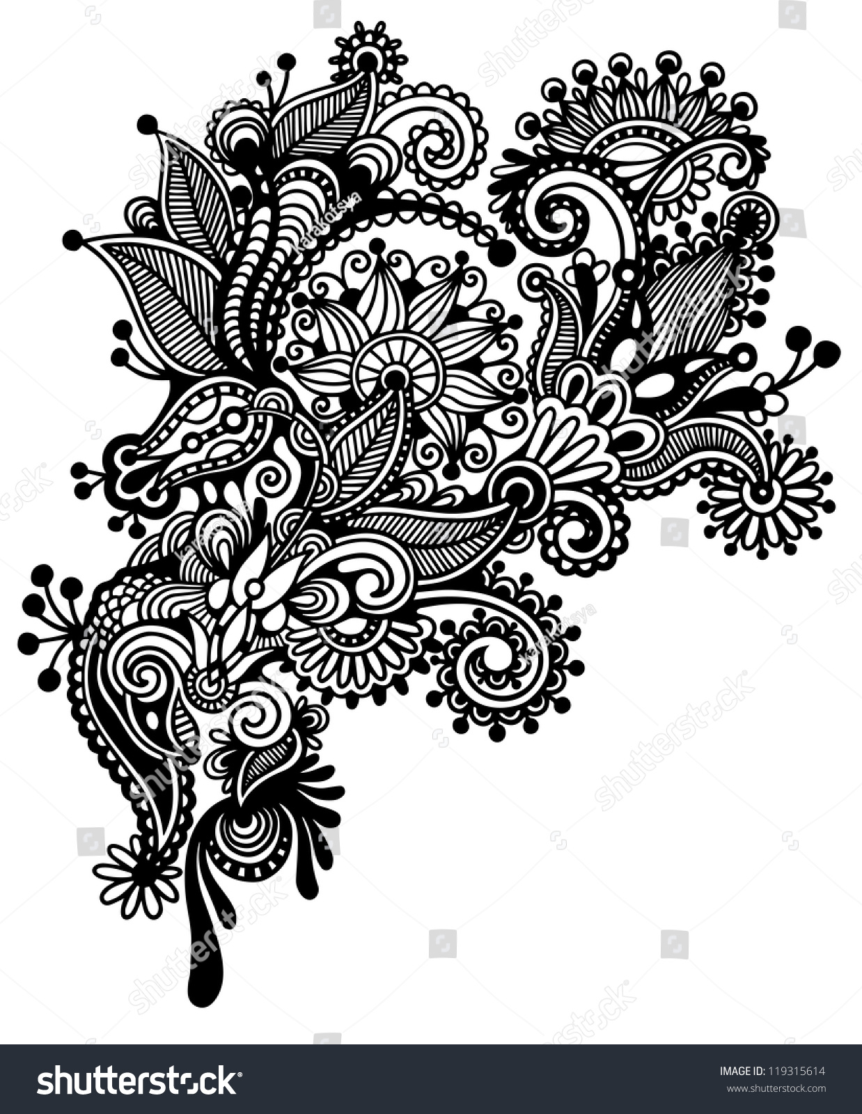 Hand draw black white line art stock vector 119315614 shutterstock - Design art black and white ...