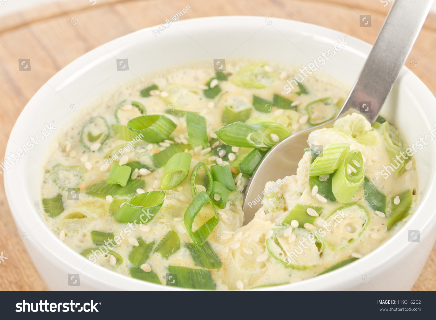 Gaeran Jim Korean Steamed Egg Casserole With Spring Onions And Sesame Seeds