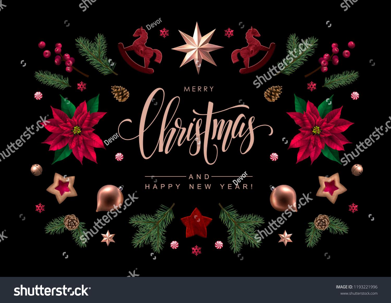 Christmas Greeting Card Calligraphic Season Wishes Stock Vector