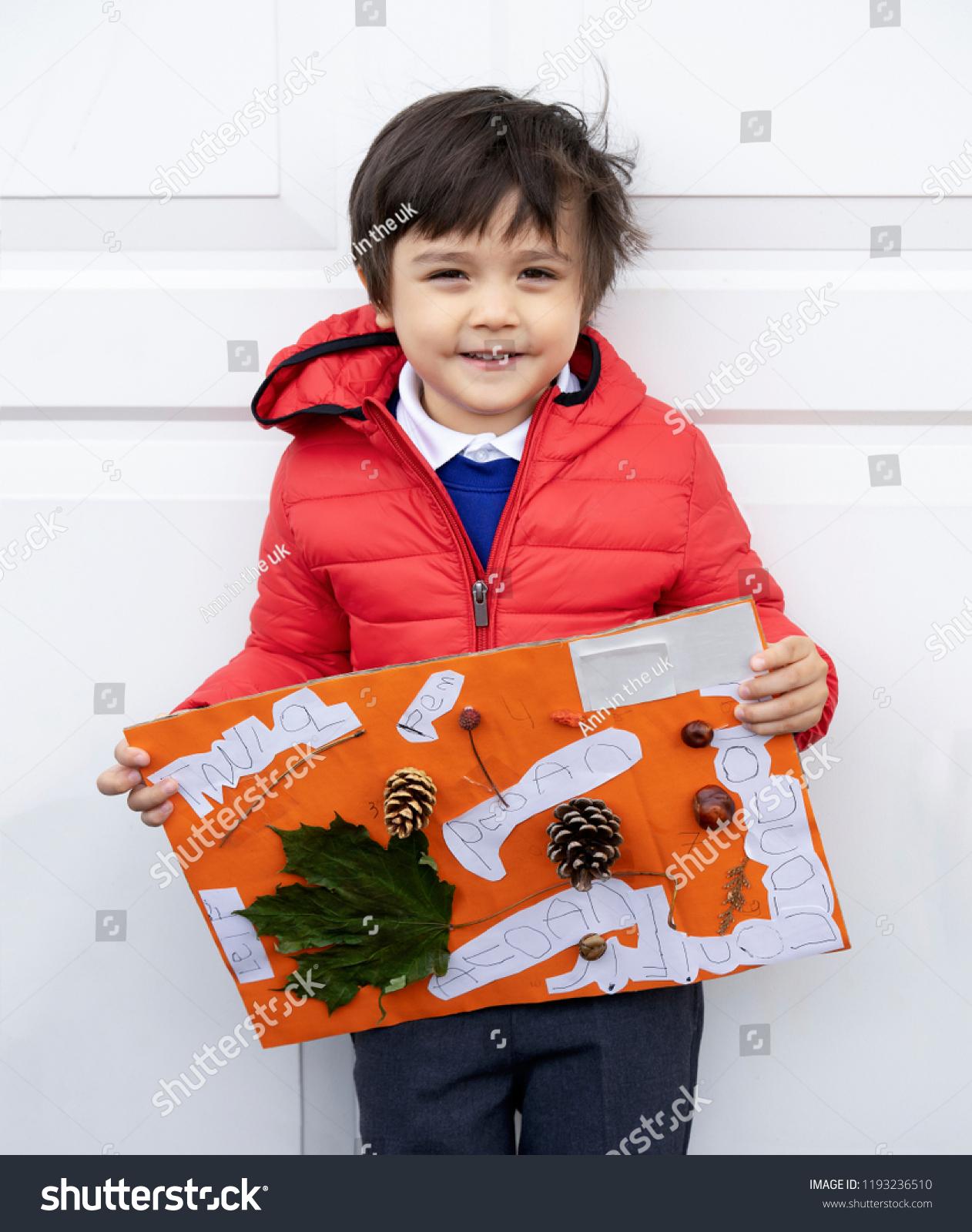 Preschool Kid Holding His Autumn Craft Stock Photo Edit Now