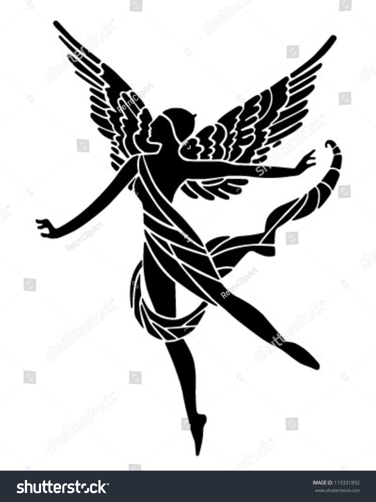 Art Deco Winged Goddess Retro Clipart Stock Vector 119331892 ...