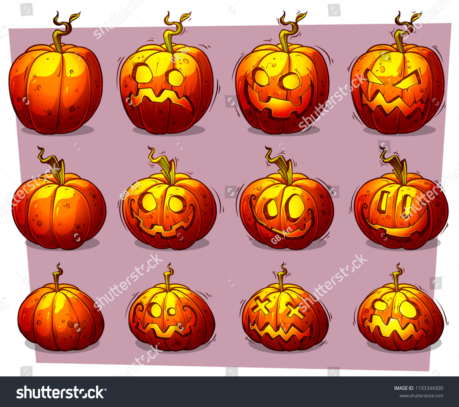 Cartoon Colorful Funny Halloween Pumpkins Different Stock Vector Royalty Free 1193344300