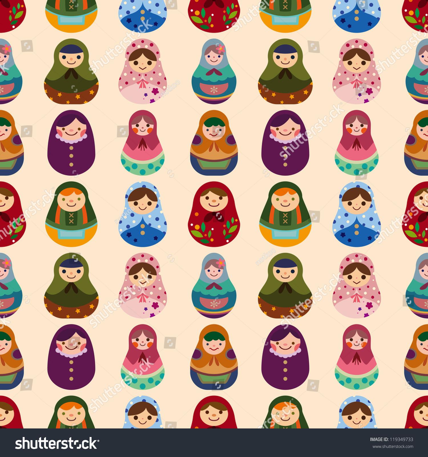 seamless russian doll pattern stock photo photo vector