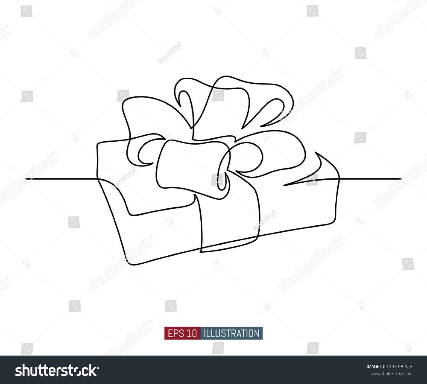 Continuous Line Drawing Of Gift Box With Ribbon Bow Template For Your Design Works