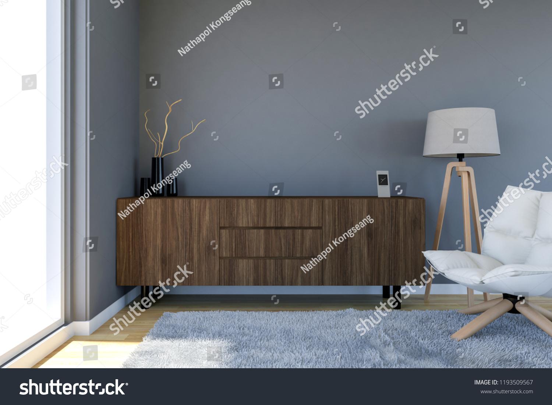 Contemporary Living Room Interior Grey Wall Stock