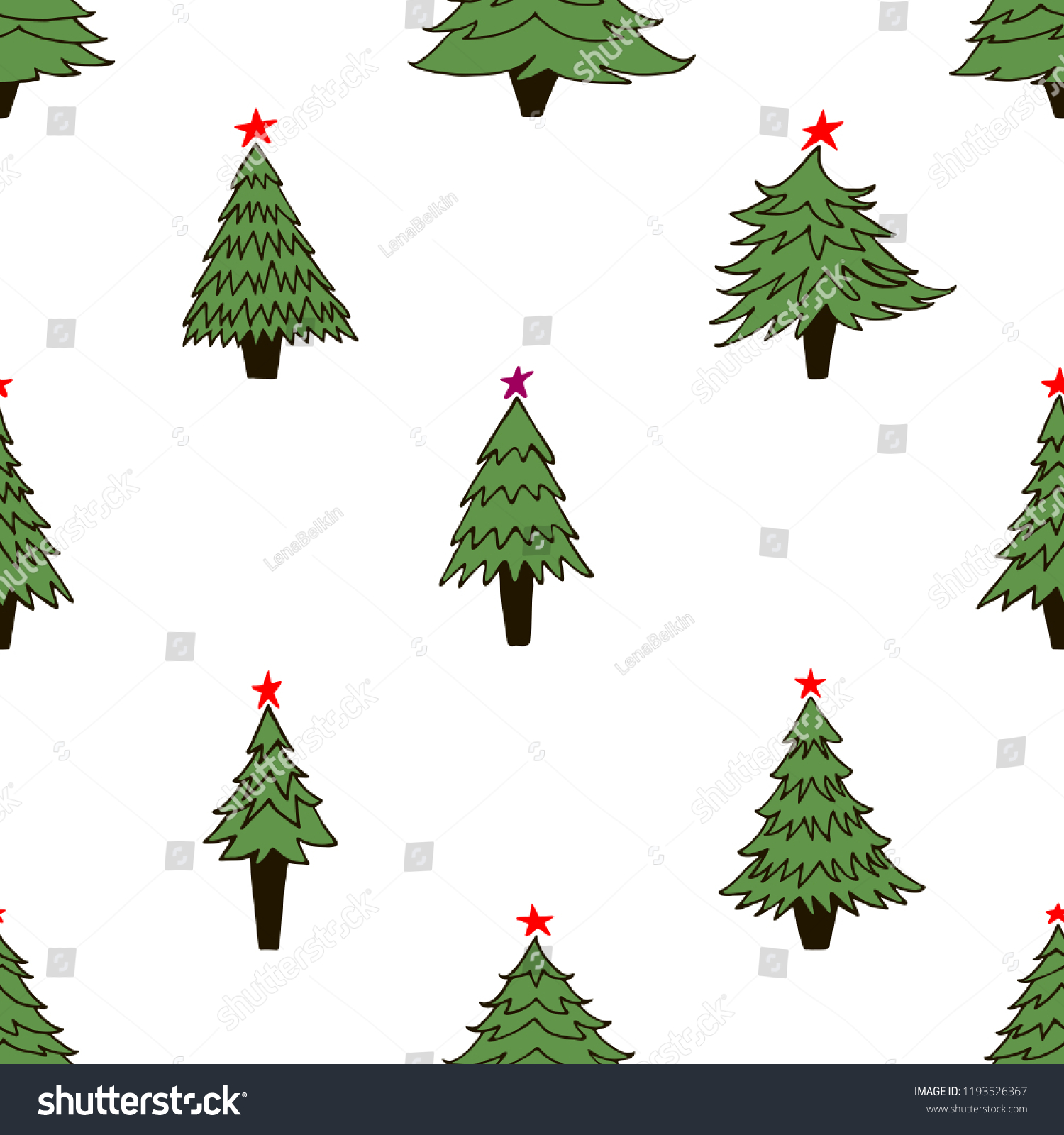Hand Drawn Seamless Pattern Christmas Trees Stock Vector (Royalty ...