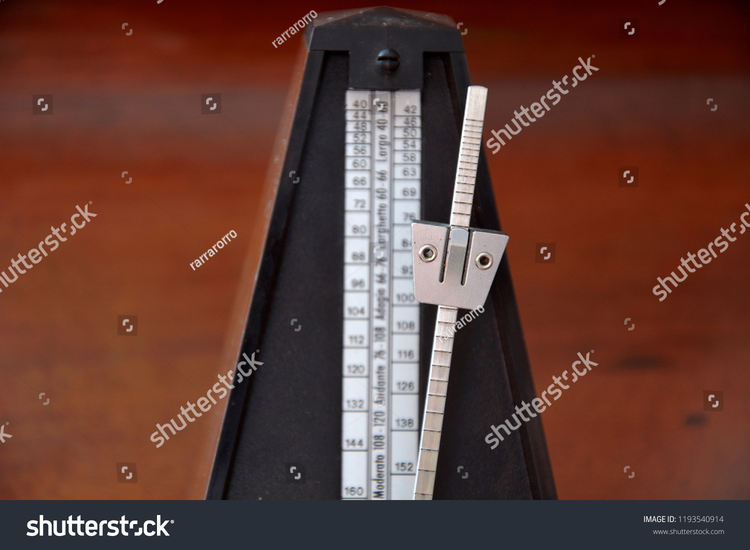 Old Wooden Retro Metronome Wooden Background Stock Photo (Edit Now