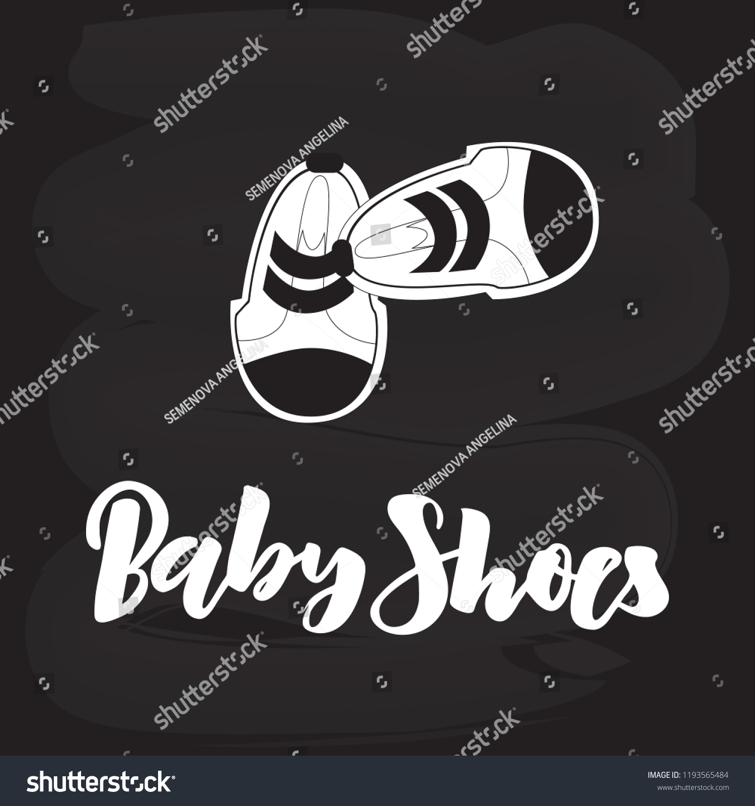 hand lettering baby shoes on chalkboard stock vector royalty free