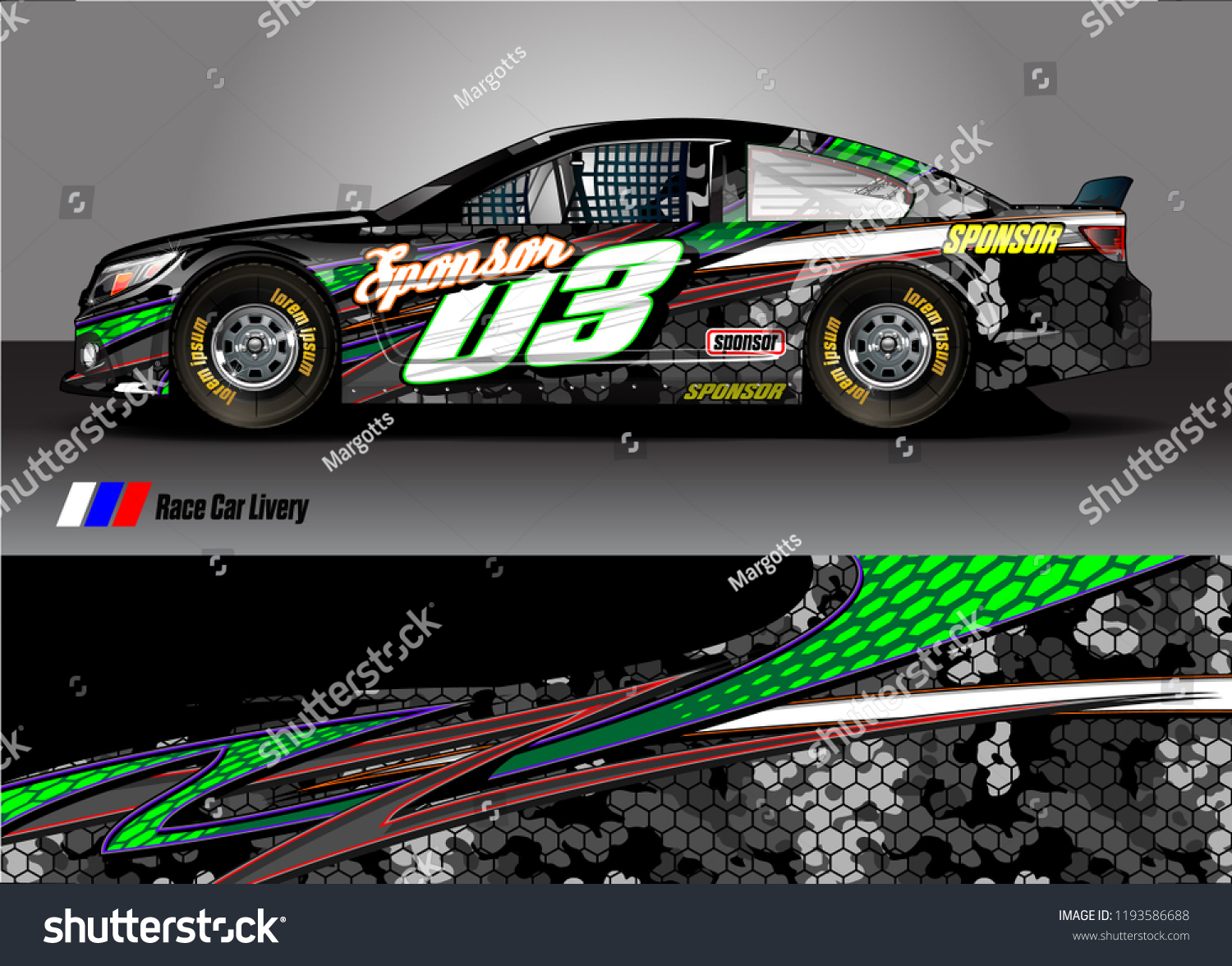 Race Car Livery Graphic Vector Abstract Stock Vector