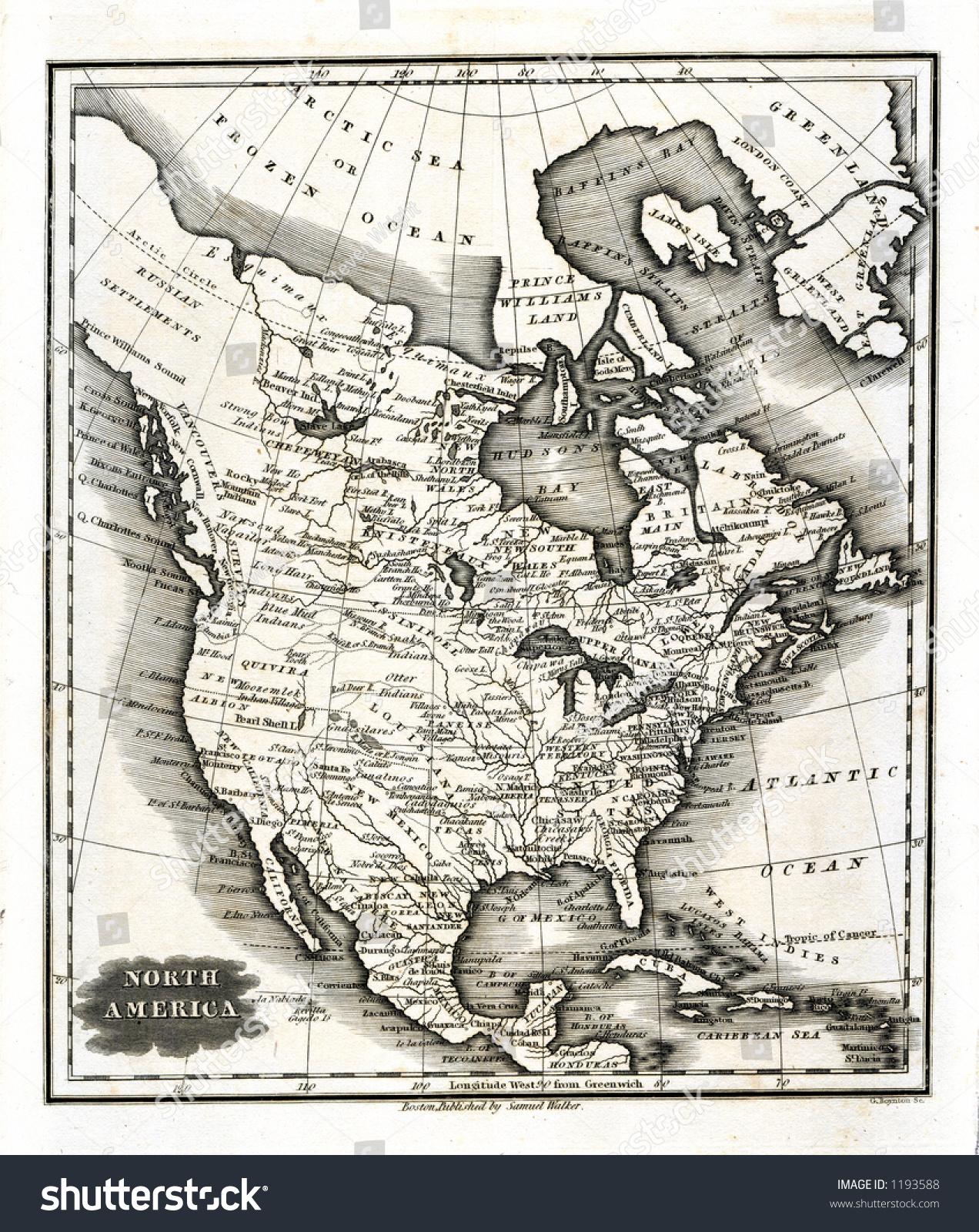 Antique Map Of North America.1799 Antique Map North America United Stock Illustration 1193588