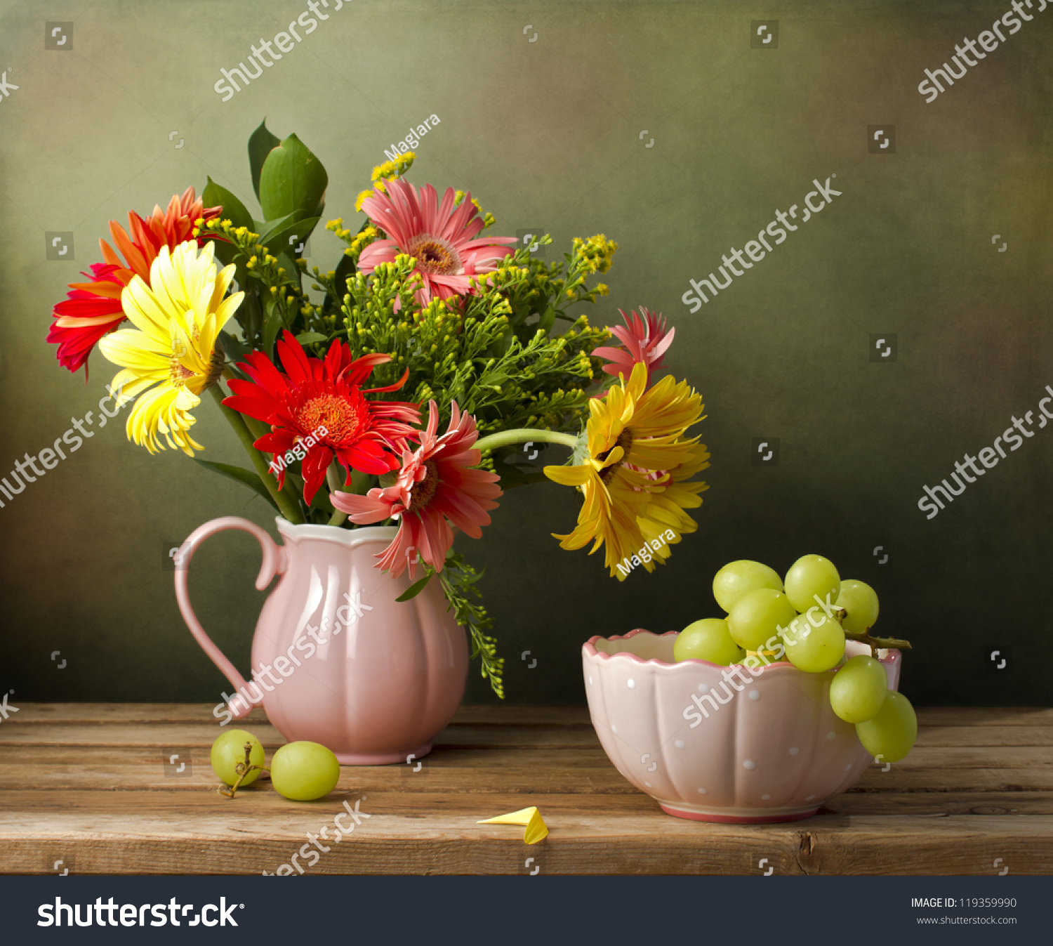 Still Life Beautiful Flower Bouquet Green Stock Photo