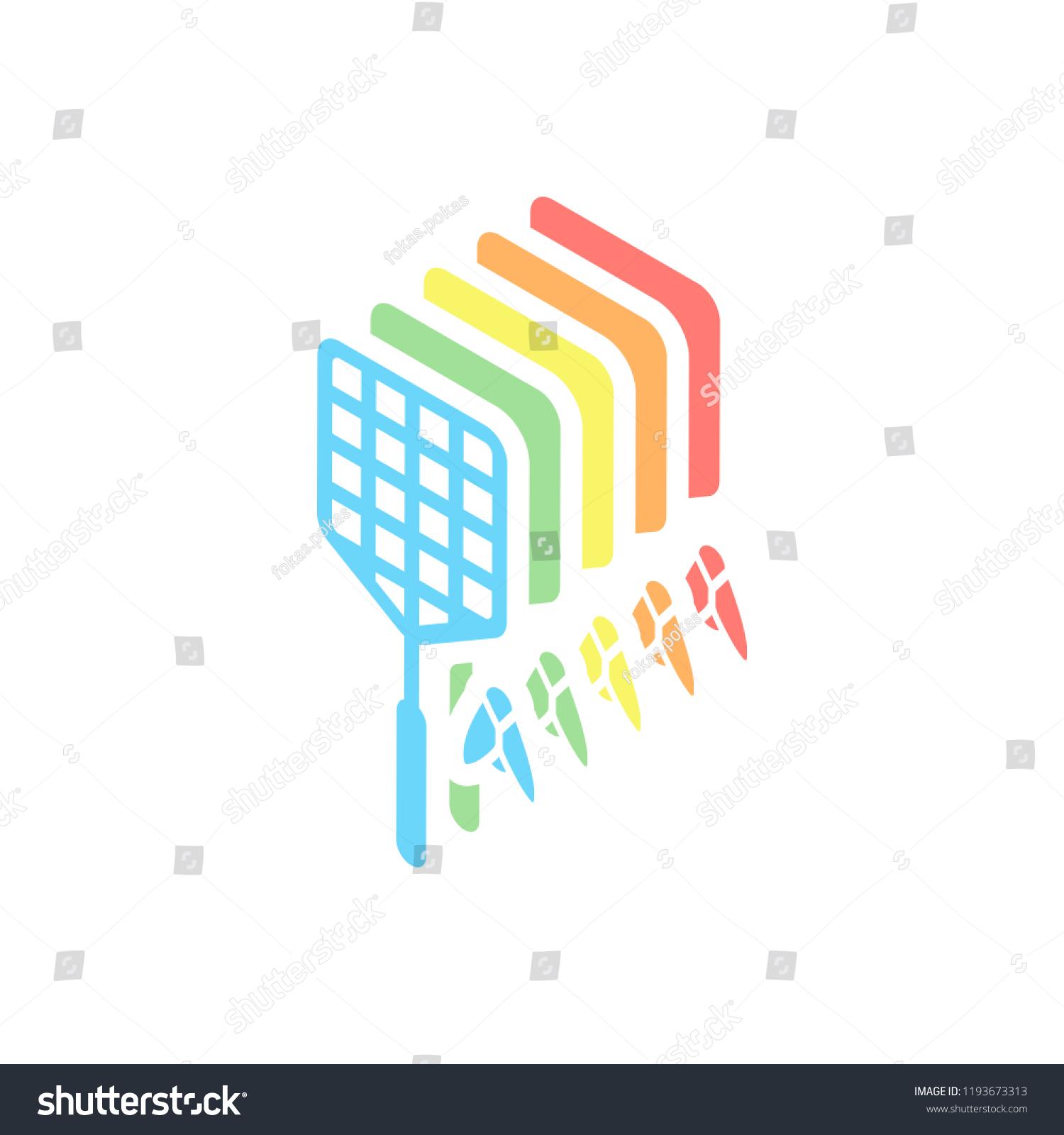 Fly Swatter Insect Simple Icon Stack Stock Vektorgrafik Lizenzfrei