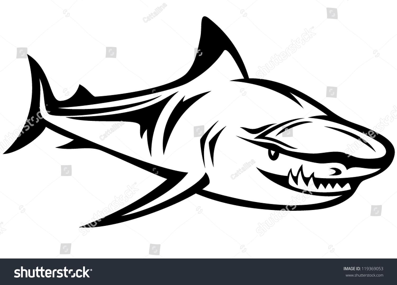 Uncategorized Great White Shark Outline aggressive shark black white vector outline stock 119369053 and outline