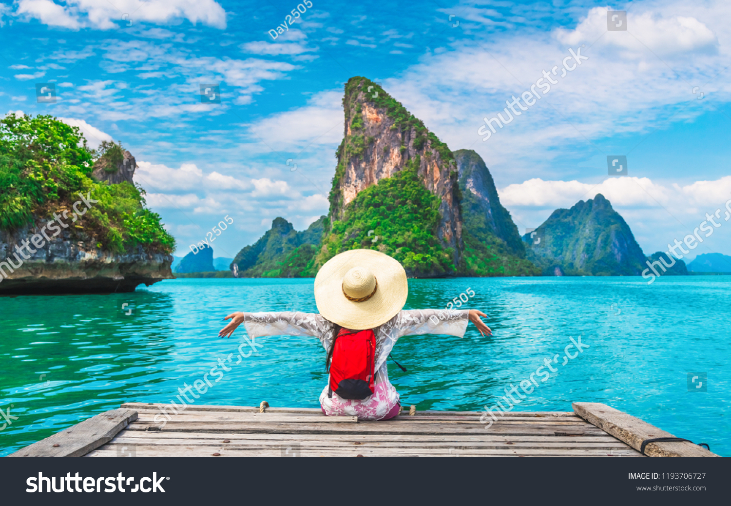 Traveler woman joy fun relaxing on wood bridge looking beautiful destination island, Phang-Nga bay, Travel adventure Thailand, Tourism natural scenic landscape Asia, Tourist on summer holiday vacation #1193706727
