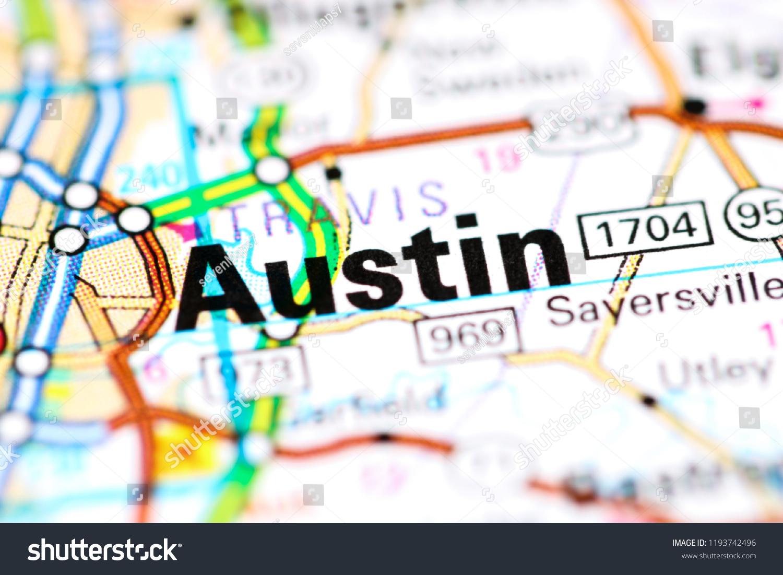 Austin Texas Usa On Map Stock Photo Edit Now 1193742496 Shutterstock