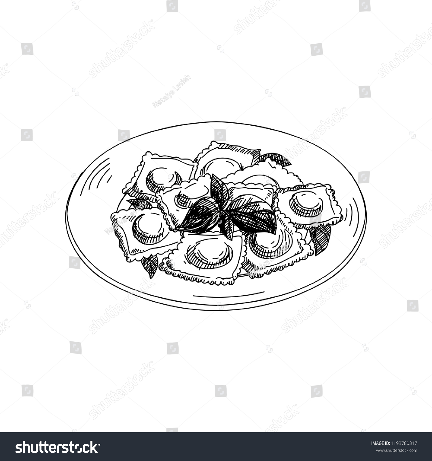 Vector Hand Drawn Ravioli Dishes Italian Stock Vector