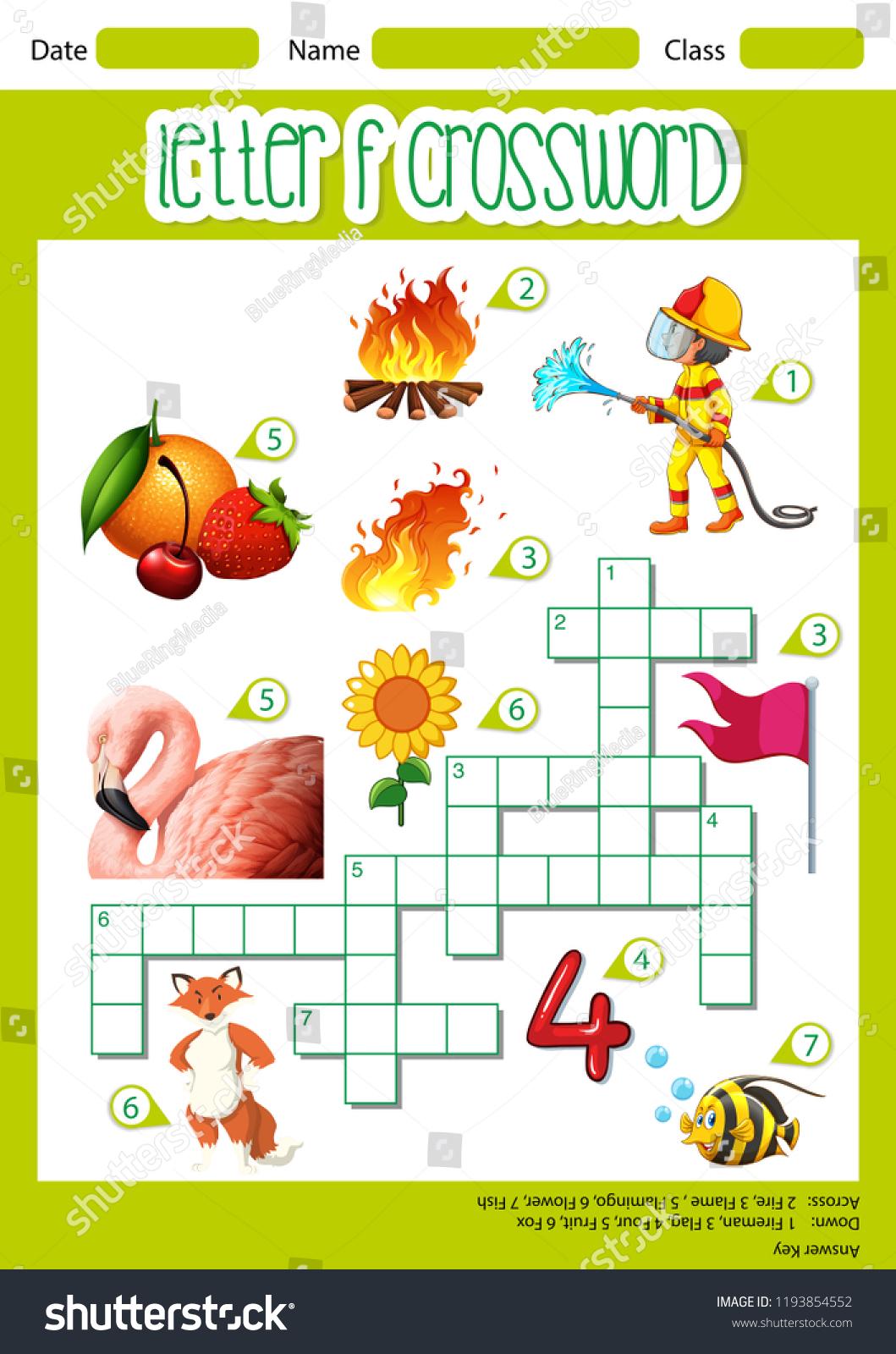 Letter F Crossword Worksheet Illustration Stock Vector (Royalty Free