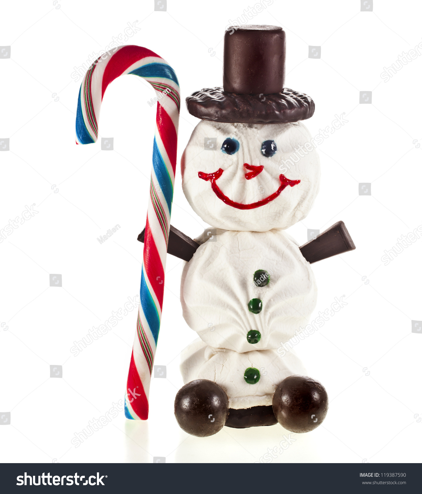 Happy Snowman Made Of Marshmallow, Chocolate, Candy, Lollipop And Jam Isolated On White