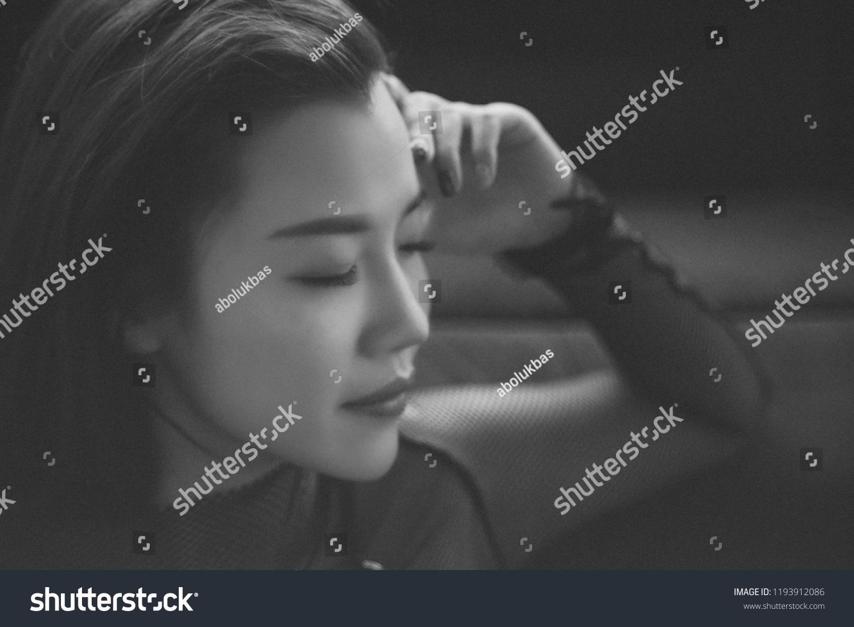 Emotional portraits of asian model photos taken with manuel lens