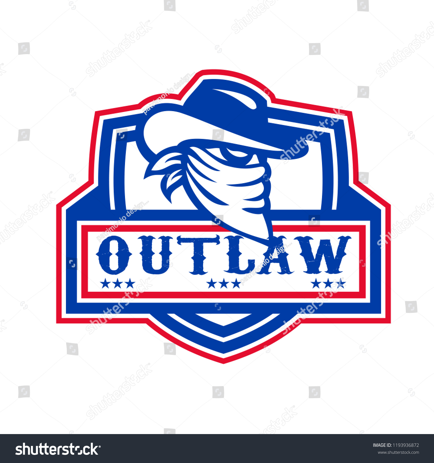 babd5dc136e Mascot icon illustration of head of a cowboy outlaw or bandit with covered  face viewed from
