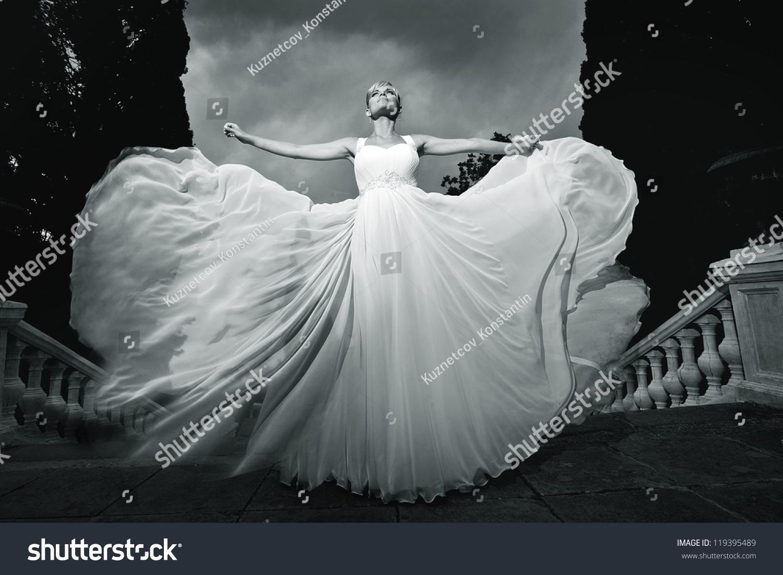 Beautiful Woman White Dress Wedding Theme Stock Photo Edit Now