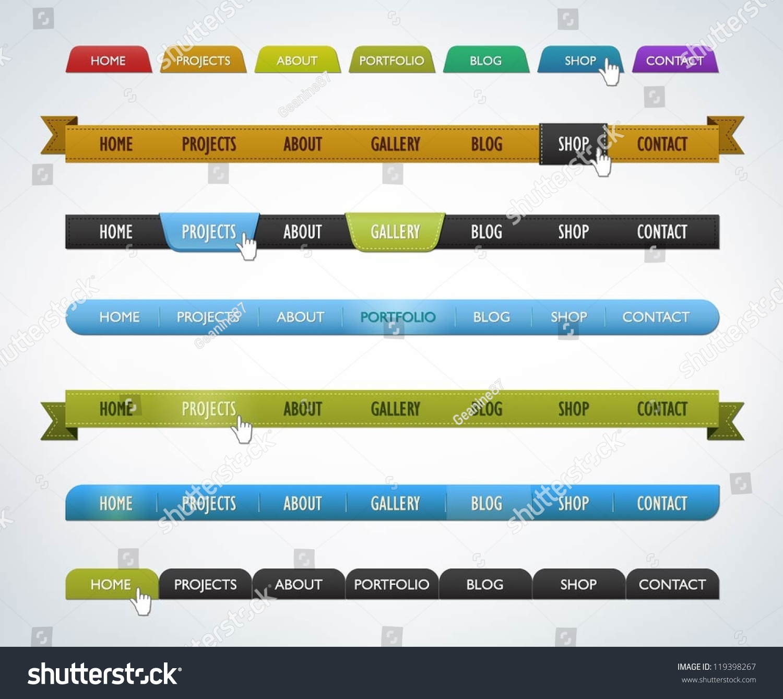 collection of various navigation bar templates stock vector